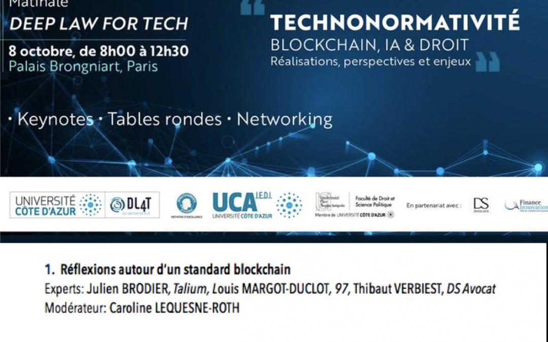 Blockchain, IA et Droit – Conférence DL4T le 8 octobre